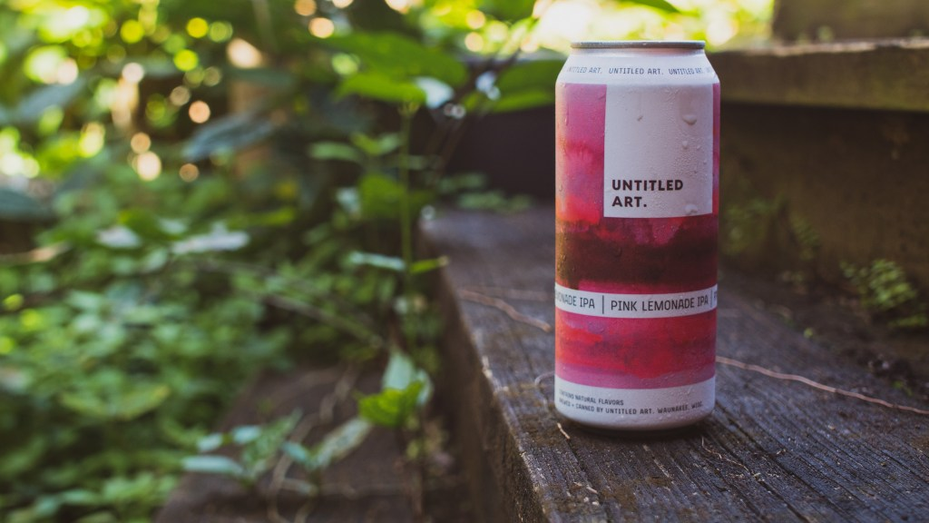 A can of beer on a set of stairs. The beer is called Pink Lemonade IPA brewed by Untitled Art Brewing