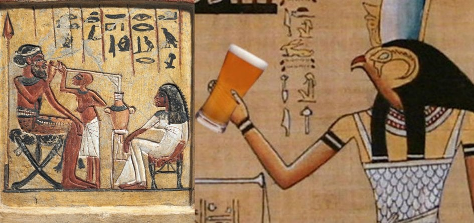 egyptian god holding a beer