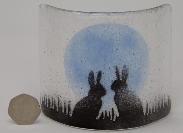 Two rabbits in a field
