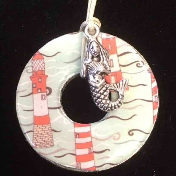 lighthouse and mermaid necklace
