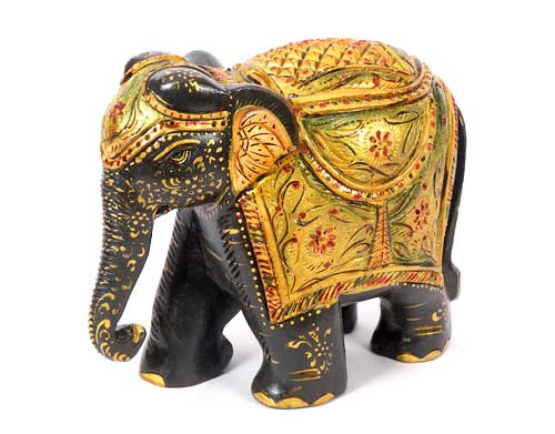 Wooden Elephants Decorative Woodcrafts Hand Carved