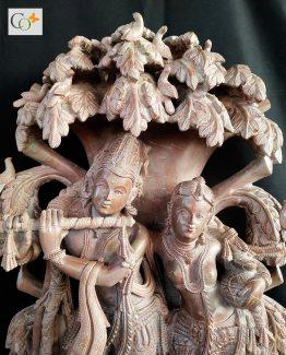 Soapstone Khanja work Radha Krishna Statue 2 ft