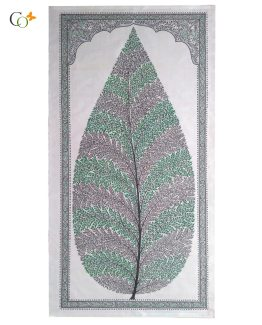 Green-Purple tree Tasar Painting 20 x 41 in