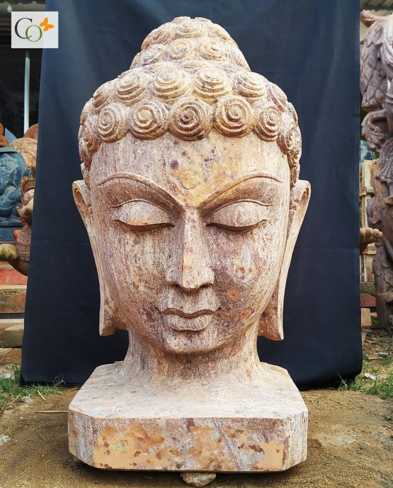 Sandstone Buddha Head Statue 2.5 ft