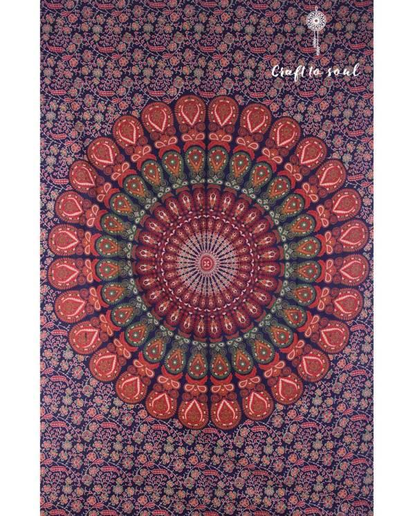 Barmeri Peacock Mandala Tapestry