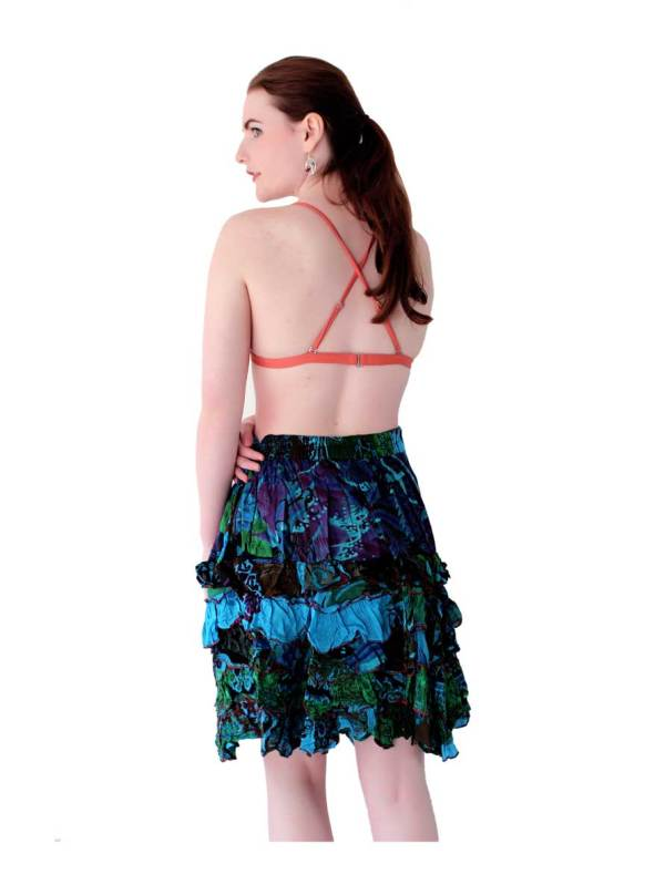 Boho Mini Skirt Blue