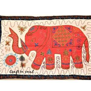 Embroidered Elephant Wall Hanging