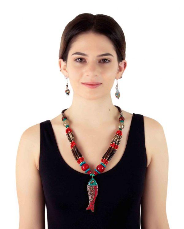 Tribal Fish Pendant Necklace