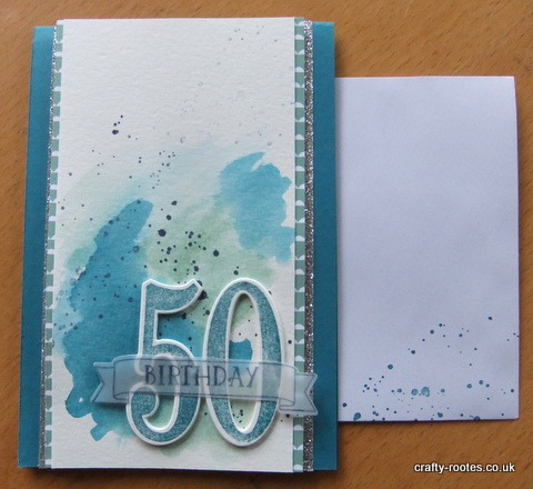 crafty-rootes.co.uk - Stampin Up Number of Years, masculine water colored card