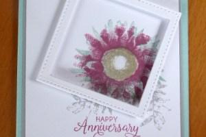 Pink sunflower in an offset frame