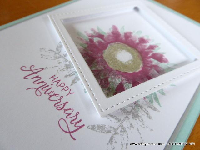 Pink sunflower in an off set frame
