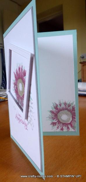 Inside the offset framed pink sunflower card