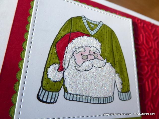 Seasonal sweater featuring Santa