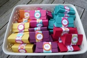 Triangular boxes holding mini Toblerones