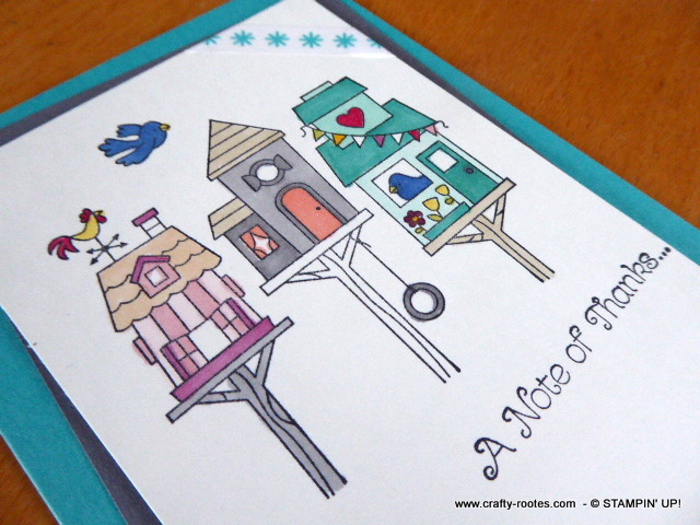 Thank you card featuring bird houses