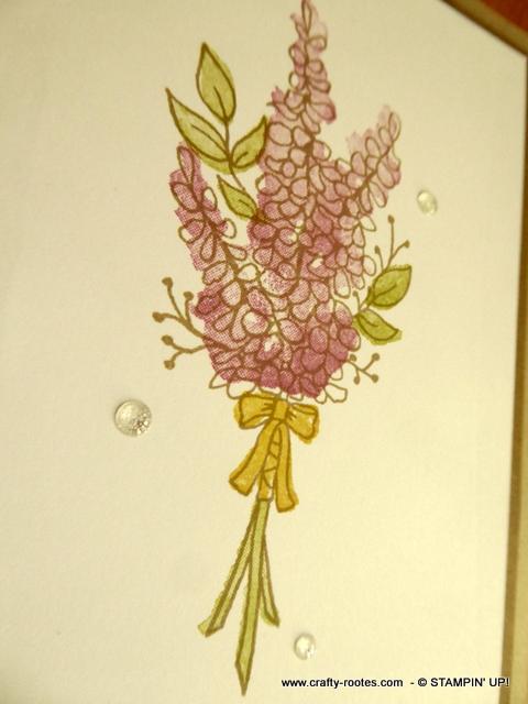 Lovely card using Lots og Lavender stamp set