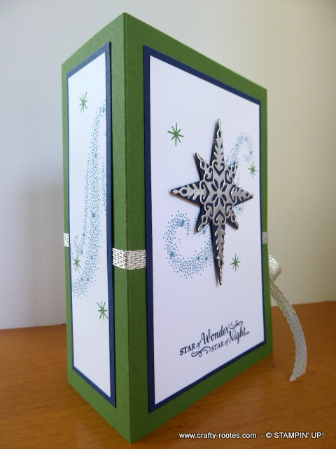 Lovely Star of Light decoration on a book fold box