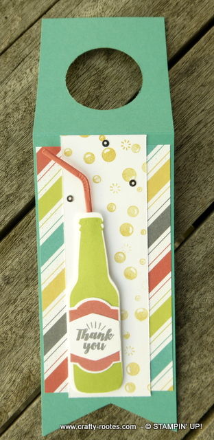 Bright and colourful bottle tag