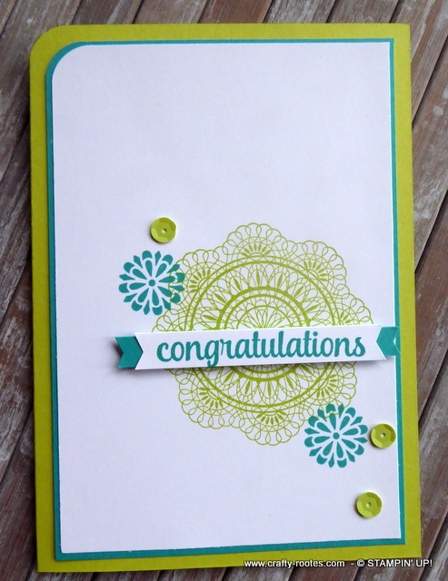 A sweet summery congratulations card made for the CAS Colours and Sketches #308 challenge