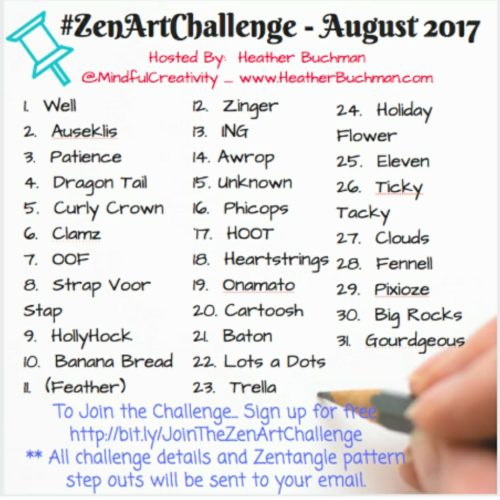 August Zen Art Challenge - Days 1 - 5