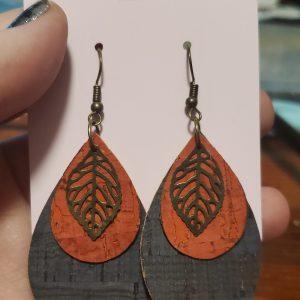 Blue and Orange Cork Earrings with Leaf Charm