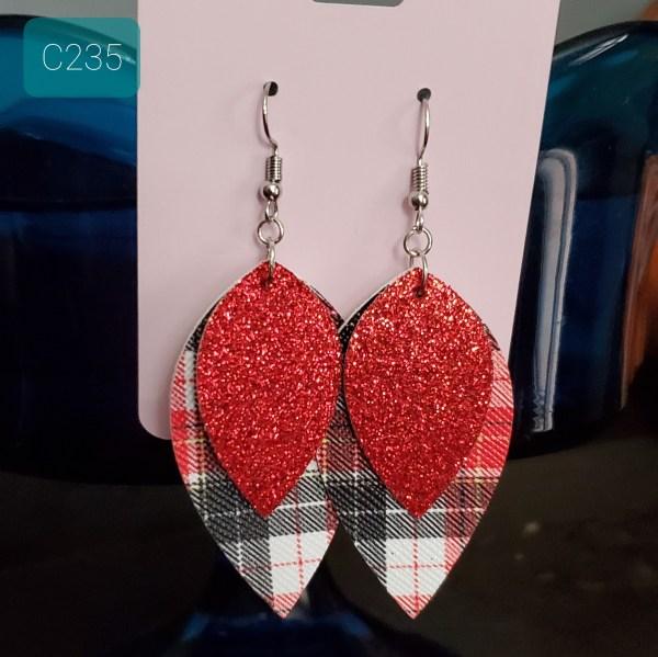 Glitter Red Plaid Earrings