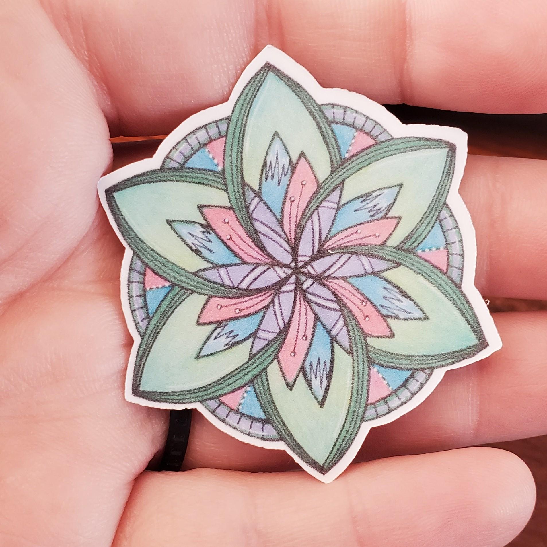 Green Flower Mandala Sticker
