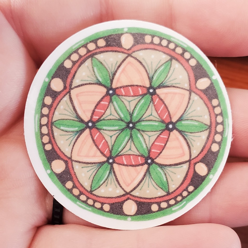 Orange and green mandala sticker