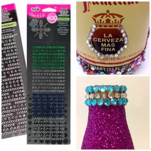 How to glitter a bottle by Crafty Chica.