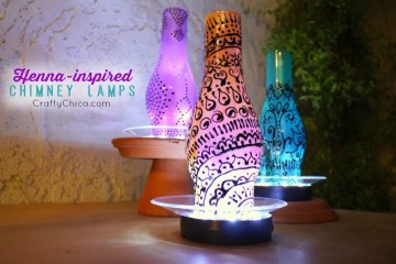 Painted Chimney Lamps by CraftyChica.com.