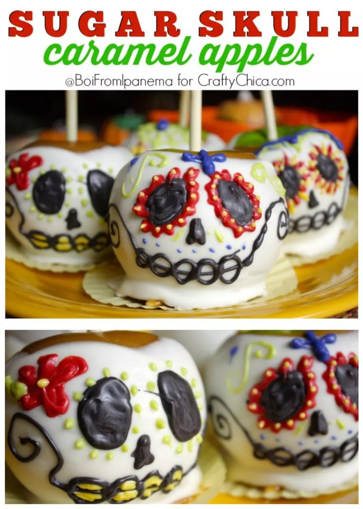 Celebrate Dia de Los Muertos with these beautiful and delicious Sugar Skull Caramel Apples!