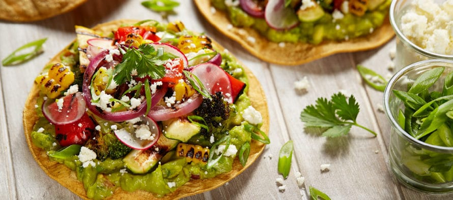 Grilled Vegetable Tostadas with Guacamole by La Tortilla Factory