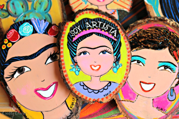 Hand painted Frida Kahlo wood plaques, by Kathy Cano-Murillo.
