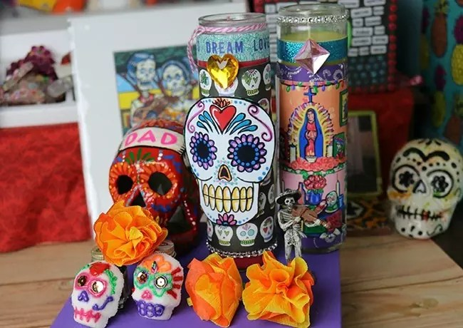 day of the dead candle and mini altar