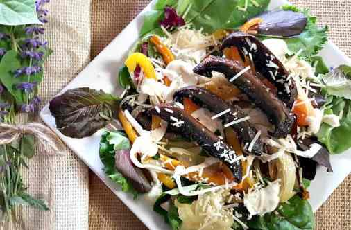 Portabella Mushroom Salad. Gluten free, Vegetarian and Sugar Free. A healthy Holiday option that doesn't lack in flavor. Roasted vegetables, gooey fresh Mozzarella, sweet ripe tomatoes, topped with a perfectly cooked Portabella Mushroom with the flavor of grilled steak. Could it get any better?