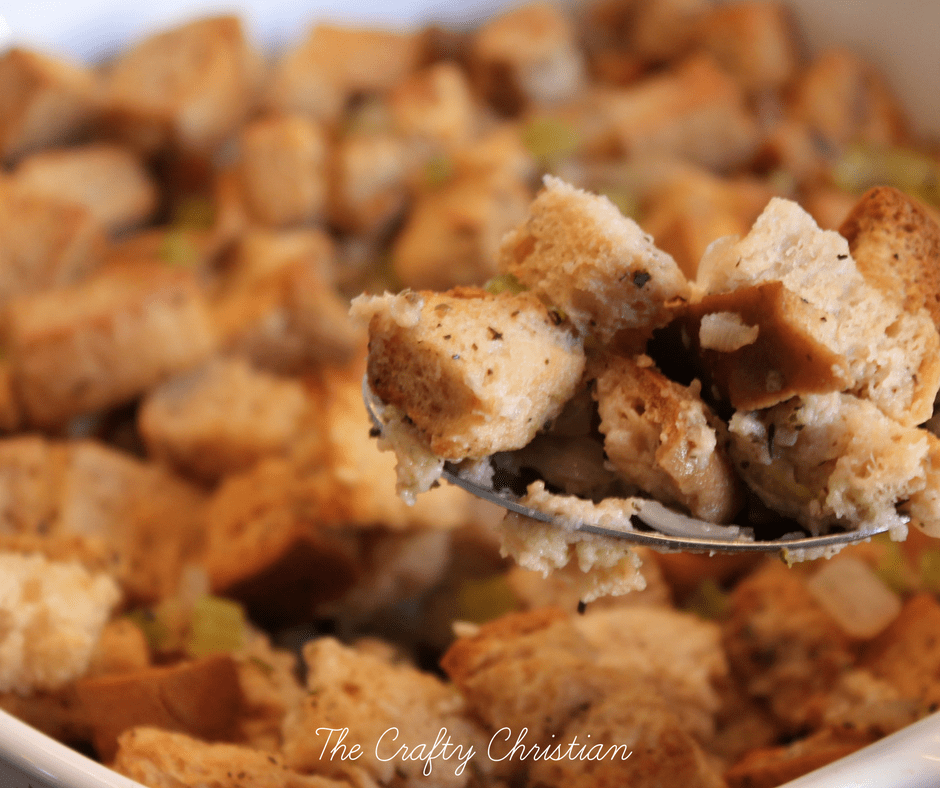 Stuffing is a staple at our table at Thanksgiving. Gluten free stuffing is just as flavorful as the regular stuff, but it's without the bad stuff. Yum!