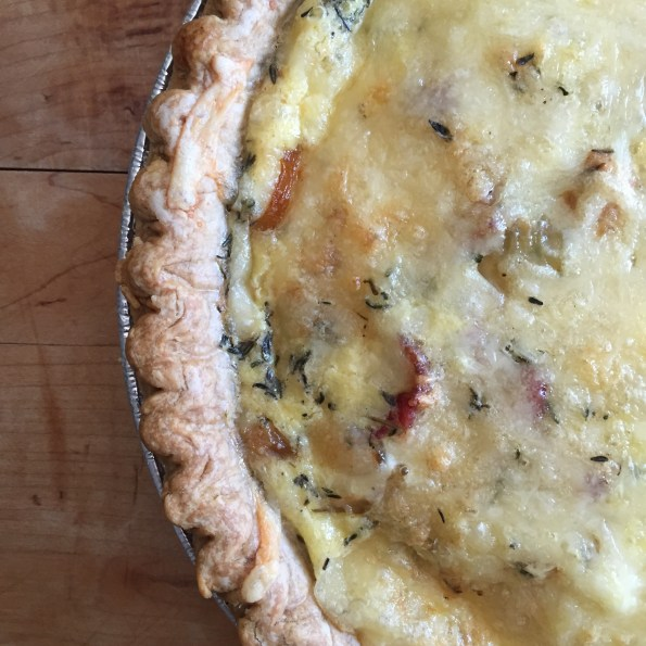Onion Bacon Swiss Cheese Quiche.