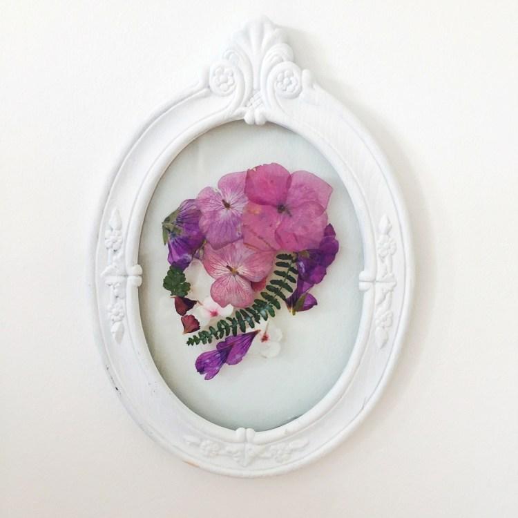Day of the Dead Pressed Flower Art Skull