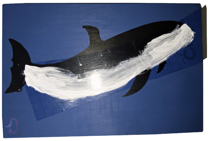 Hand-Drawn Cricut-Made Stencil Whale Board -- Visit CraftyJBird.com for more info...