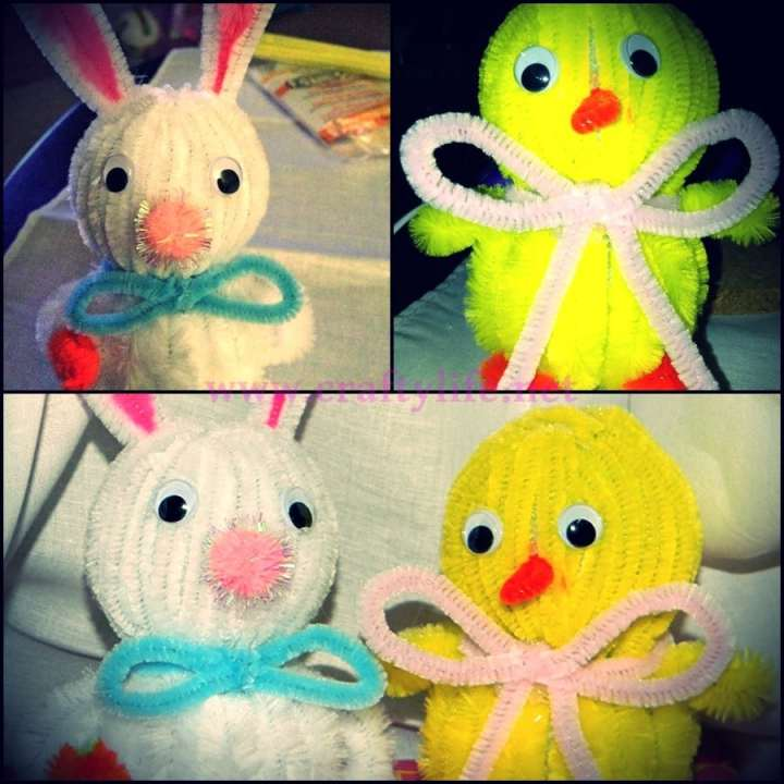 bunny and chick styrofoam my crafty life 5