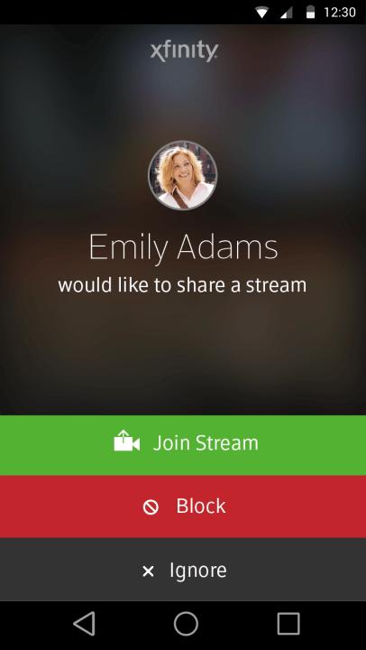 Xfinity Share Notification on Smartphone