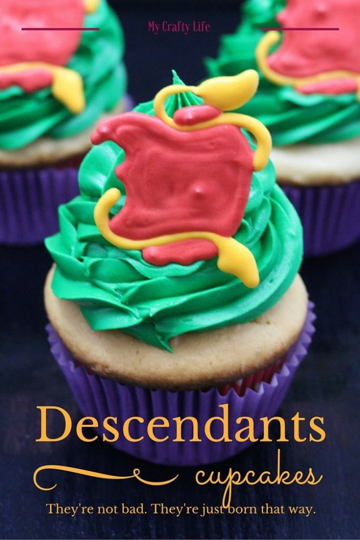 Vanilla cupcakes and villains? Sign me up. These Disney Descendants cupcakes aren't bad, they are just made that way.......as in ridiculously bad for your diet.