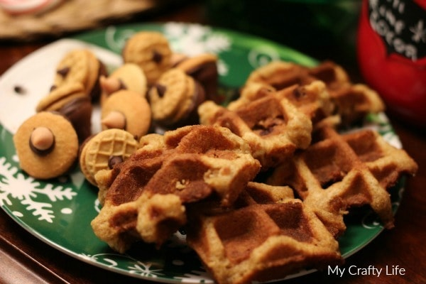 chocolate chip waffle dunkers and acorn treats - My Crafty Life