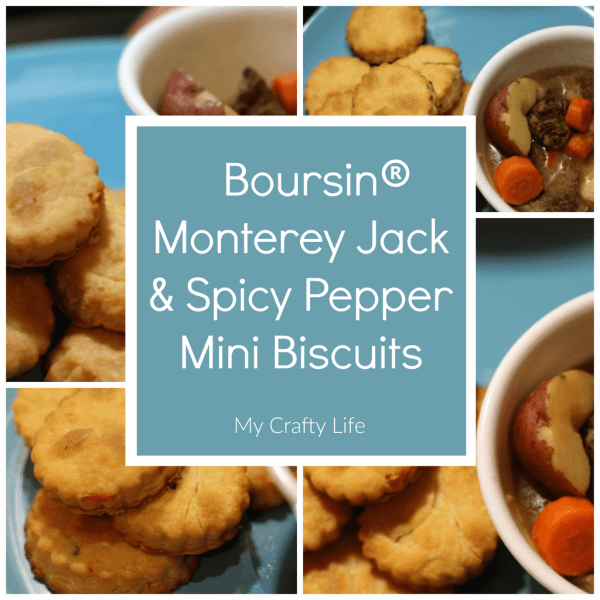 Monterey Jack and Spicy Pepper Mini Biscuits - We spiced up our cream cheese biscuits with Boursin® Monterey Jack and Spicy Pepper Cheese Dip. With just a few simple ingredients you can add a little flare to your typical hearty appetizers or meals.