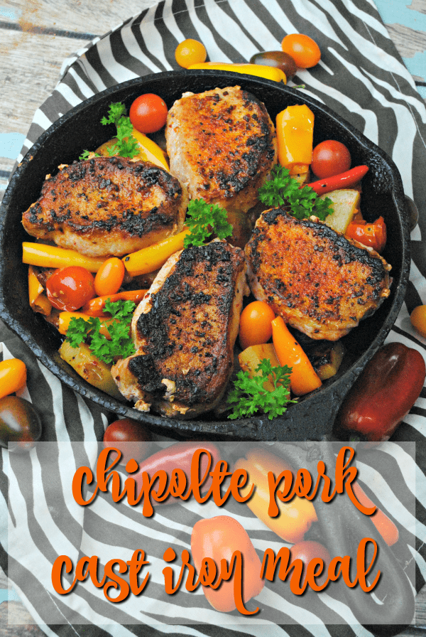 Wake up a boring pork chop meal with a bit of spice and some fresh herbs with this chipotle cast iron pork recipe.