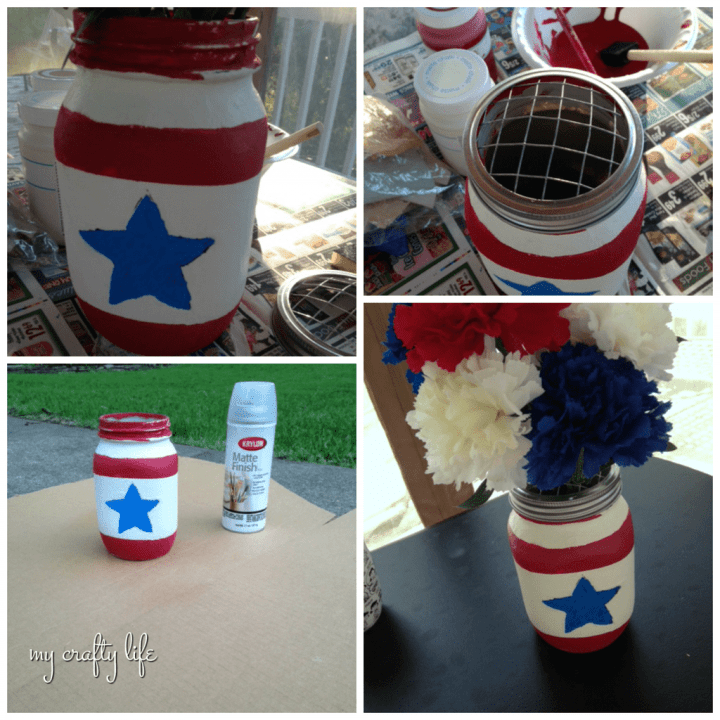 in process - patriotic mason jar - my crafty life 2