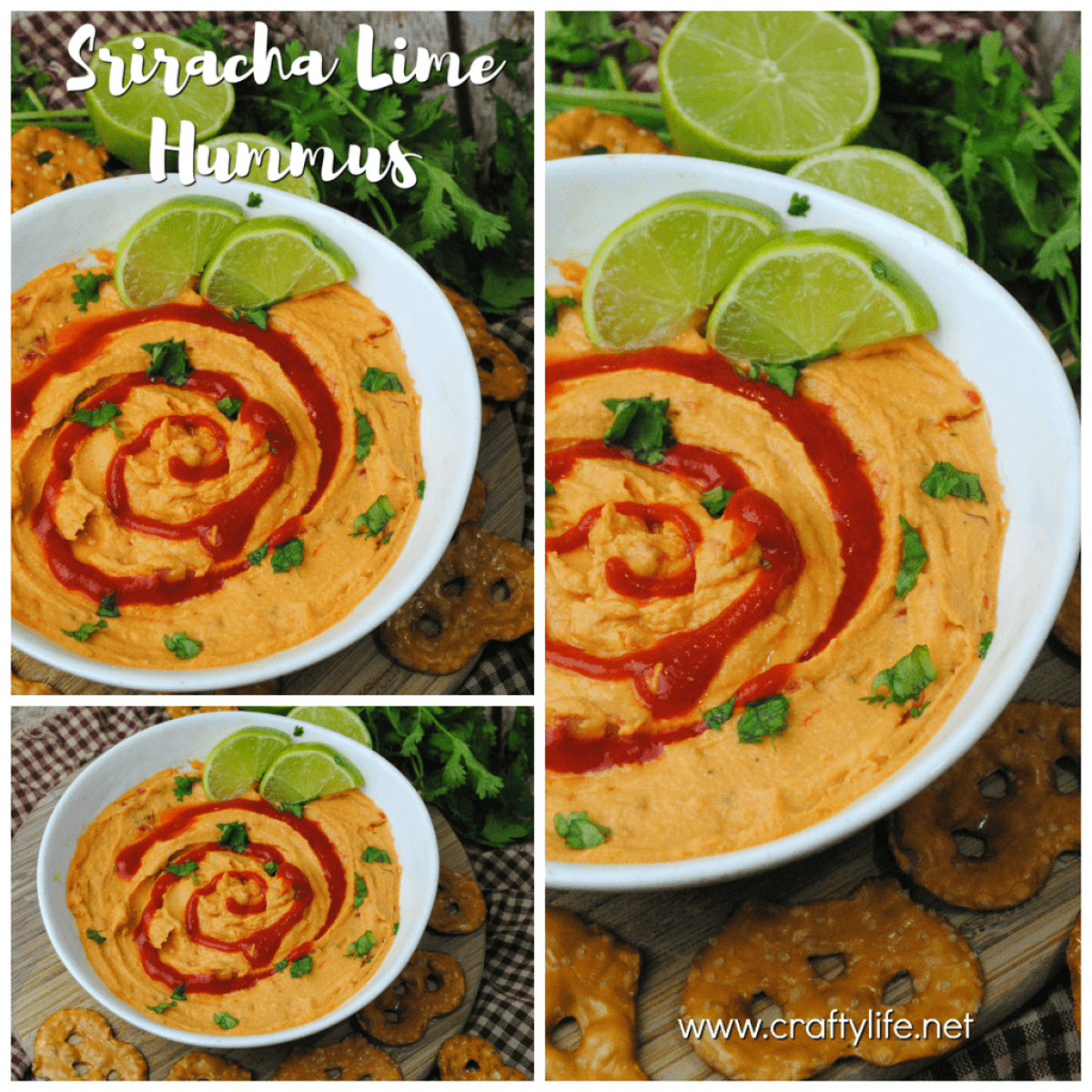 This Sriracha Lime Hummus will be at hit at your next party or get together!