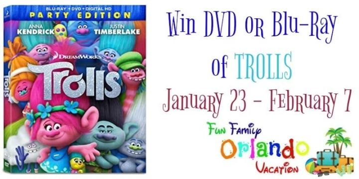 Trolls Movie Giveaway - Enter to win your choice of a Troll DVD or Blu-Ray.