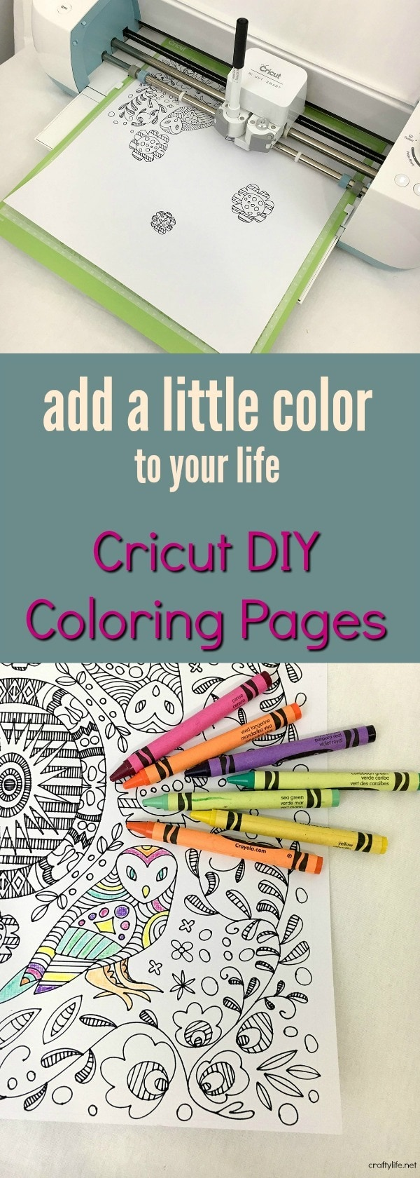 You don't need to make a trip to the store to get an adult coloring book, use your Cricut! Take inspiration from the colors in your house or your crayon box.