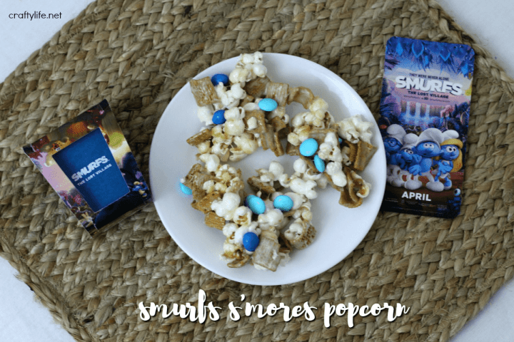 In honor of the new The Smurfs: The Lost Villiage movie my kids and I decided to make one of our favorite snacks, marshmallow popcorn.